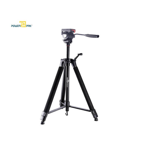 PowerPak Video-X7 5.6 ft Lightweight Portable Aluminium Tripod Stand With Fluid Head For Video