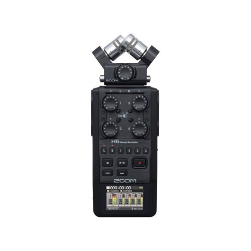 Zoom H6 All Black 6-Input Portable Handy Recorder (Black)